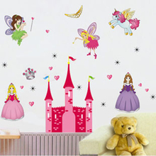 DIY Removable and Waterproof wall stickers Princess angel girl with castle tower for children kids bed room decoration(China)