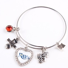 Mix Styles Tampa Bay Rays Team Bangles Baseball Charm Sport Alloy Adjustable Bracelets 10pcs(China)