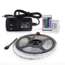 RGB LED Strip Waterproof SMD 2835 5M 300 LEDs Flexible Fita with Remote Controller DC 12V 2A Power Adapter Tape Lighting(China)