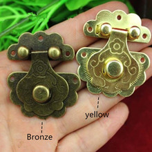 1pc Green Bronze Yellow for Option Furniture Jewelry Wooden Box Lock Chest Case Box Decorative Fixing Hasp Latch Locks(China)