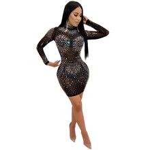 U-SWEAR Mesh Diamonds Rhinestone Dress for Women Stand Neck Long Sleeve  Mini Bodycon Dress Sexy Party Club Dress Black Khaki 70df0615f9d1