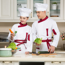 6 Color Chef Uniform Wear Long Sleeve Outfit Kitchen Clothes and Women Western Restaurant Chef Uniform Clothing(China)