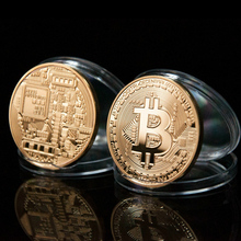 Gold Plated & Bronze Physical Bitcoins - 1 of each -Casascius Bit Coin BTC With Case For Souvenir New Year Gift BTC001
