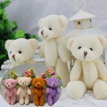 24 pcs free shipping 12CM plush stuffed toy cartoon joint bear bouquet packaging material joint mini teddy bear beige color(China)