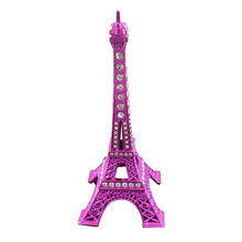 1 Piece Rose Red Metal Crystal Eiffel Tower Statue Miniature Figurines Crafts World Architecture Model Home Decoration 13cm