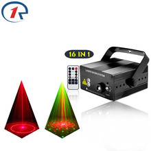 ZjRight IR Remote 16 pattern Red Green Laser Stage Light Mix Blue LED Effect bar dj lights birthday party light KTV disco lights(China)