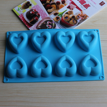 8 Holes Heart Shape Chocolate Molds DIY Silicone Cake Decoration Jelly Ice Molds Love Gift Cookie Molds Baking Tools D0304