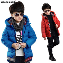 WEONEWORLD Baby Winter Children Outerwear Kids Clothes Hooded Down Coat Boys Coat Plaid Baby Clothing Jackets for Boys 120-160cm