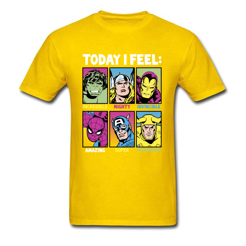 Star Wars Today I Feel Marvel Heroes T Shirts Funky Mens Summer/Autumn Tops Tees Casual Top T-shirts Crewneck 100% Cotton Fabric Today I Feel Marvel Heroes yellow