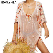 New Arrivals Sexy Beach Cover up Pink Crochet Robe de Plage Pareos for Women Swim Wear Saida de Praia Beachwear Coverups  #Q195