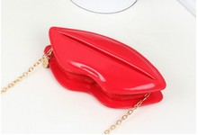 3 pieces Sexy Lip Bags Evening Party Red Lips Clutch Chain Shouder  Patent Leather evening bag