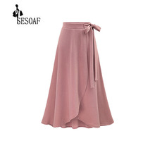 2017 Autumn Women High Waist Elegant Chic Skirt S M L 5XL Solid Color Korean style Long Skirts Tie up Plus Size maxi skirts