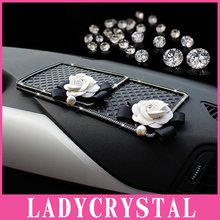 Ladycrystal Diamond Car Anti Slip Cushion For Car Doll GPS Mobile Phone Pad Gel Camellia Non-slip Mat Interior Accessories