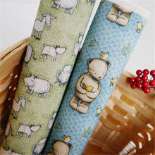 2016 New 2pcs Bear And Bird Hand Dyed Cotton Linen Fabric Diy Sewing Craft Patchwork Cloth Fabric for cloth/decal 20*30cm