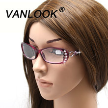 Rhinestone Reading Glasses Women Gafas de Lectura Luxury Fashion Spectacle +50 +100 125 150 175 200 225 250 275 300 350 400(China)