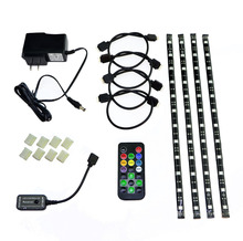 Eclipse LED Light Strip Accent Kit - 4 x Pre-Cut 12 Inch Multicolor RGB Adhesive Backed SMD 5050 Strips, 20 Function Remote, Po(China)