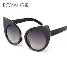 ROYAL GIRL New Fashion Exaggeration Cat Eye Sunglasses Women Vintage Brand Designer Metal Frame Glasses ss443(China)
