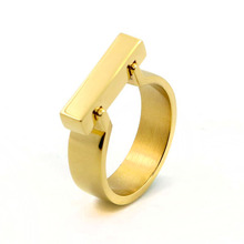 TYME tiff fashion jewerly Stainless Steel bear Accessories D word gold couple gold color ring brand silver ring for women couple(China)