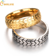 Rings Women Men Sale New Titanium Steel Engraving Tire Design Metal Gold Silver Color Ring Party(China)