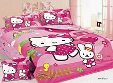 deep pink hello kitty print bedding sets bed linens girl's kid's bedclothes twin size quilt duvet covers 3 pcs no filler inside(China)