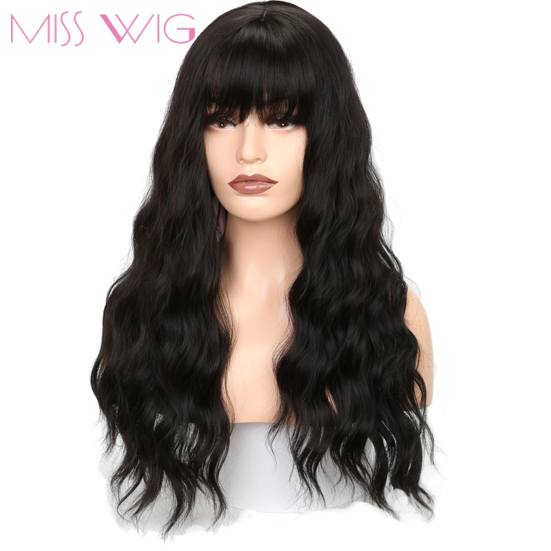 MISS WIG Long Wavy Wigs for Black Women African American Synthetic Grey Brown Wigs with Bangs Heat Resistant