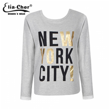 Buy latest tops women O-neck long sleeve T shirt Casual t shirt letter t shirts cotton woman 2017 New womens long sleeve t-shirt for $7.99 in AliExpress store