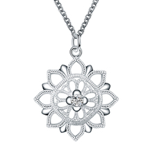 Hollow Flower Pendent Necklace  Ornament Simple Silver Plated Set Auger Sweater Accessories Jewelry Christmas Gift