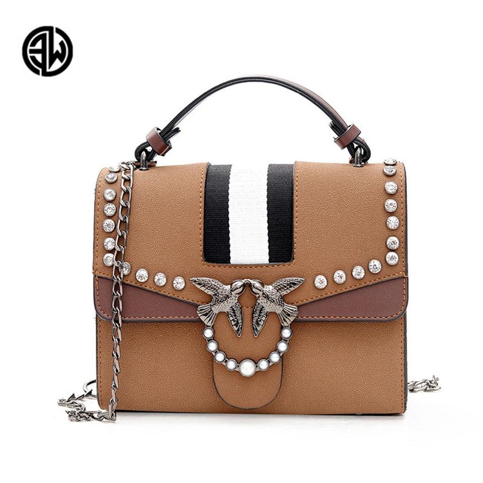 ETONWEAG Brand Women Bag Metal Bird Rhinestone Decoration Bag Crossbody Retro Shoulder Bags Handbag Female Bag<br>