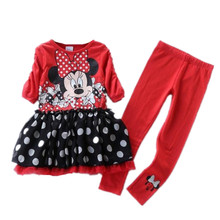 brand 6sets/lot 2-6 yrs baby girls Dress and legging sets princess dress & pants Set minnie mouse clothing sets(China)