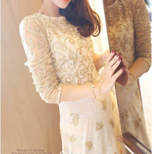 Luxury Style Handmade Embroidery Long Sleeve White Lace Crochet Dress Gold Sequin Flower Pattern Party Club Gown O Neck Vestido