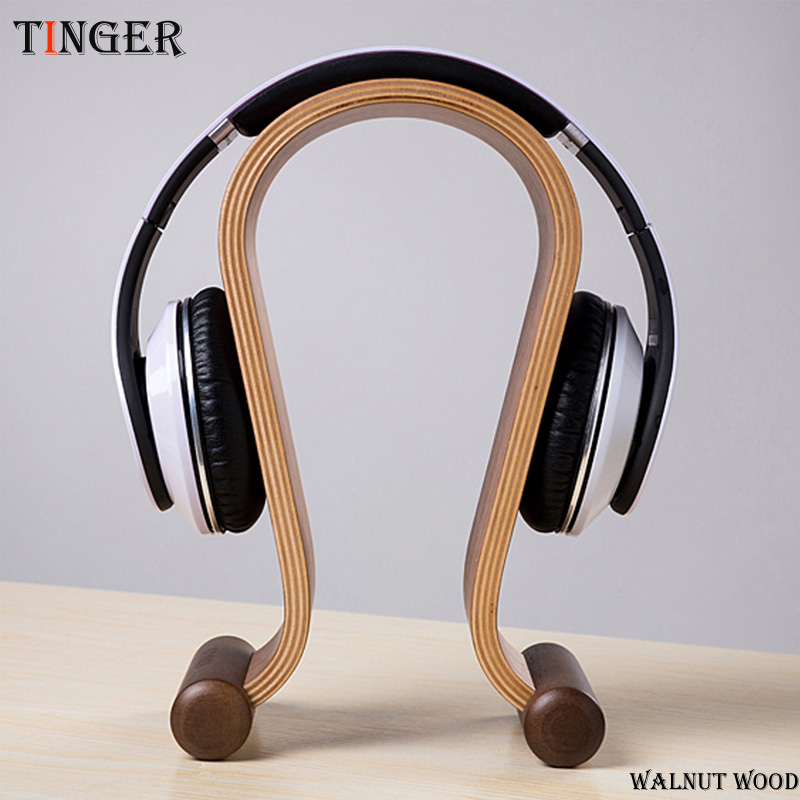 PZ Walnut Wood U Design Headphone Holder Hanger Wooden Gaming Headset Display Stand Rack Bracket for TV Wireless Headphones<br>
