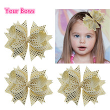 Your Bows 1PC 5.5Inch Grosgrain Ribbon Hair Bow Golden Dot Girl Bows Hairpins Children Hair Clip For Kids Hair Accessories(China)