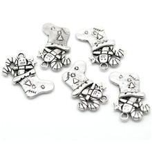 50Pcs Silver Tone Christmas Candy Cane Stocking Pendants Jewelry Making Findings Charms 29x25mm