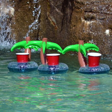 6pcs/lot Pool Float Water Inflatable Coconut Tree Drink Cup Transportor Swim Ring Holiday Water Fun Pool School Toys