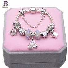 European Style Vintage Silver plated Crystal Charm Bracelet Women fit Original DIY Brand Pandora Bracelet Jewelry Gift BR254(China)