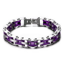 316L Stainless Steel Mens Bracelet With Purple Silicone Motor Bike Chain Jewelry JBR-172PP