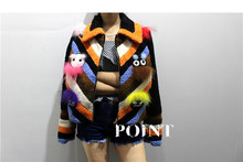 Faux Fur small monster upgraded version of grain fur  lapel short paragraph fur coat Lamb Furfemale models Embroidery Appliques