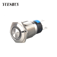YUESHUN 16mm Switches High Round Shape Electrical Equipment LED Light Push Button Switch Dot illuminated LED Latching Switches(China)