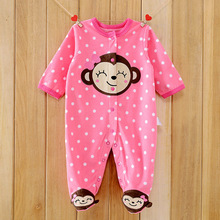 Monkey Love Print Fleece Newborn Baby Girl Overalls Romper Macacao Bebe Body Baby Rompers New Born Baby Clothes, Size 3-12M(China)