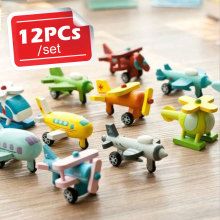 12pcs/lot Kids Wooden Mini Airplane Mini Car Models Toys Small Kit Boys Girls Education Vehicles Multicolor Toy For Children