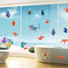 Sale 1Set Hot Colorful Fishes Sea World 3D Wall Sticker Bedroom Bathroom DIY Home Decals Decorative Accessories