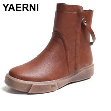 YAERNI Women's Ankle Boots Warm Velvet Martin Flat Boots PU Leather Shoes Retro Winter Snow Boots Botines Mujer Women Shoes(China)