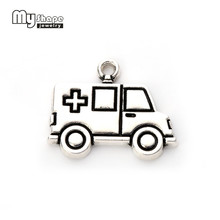 My Shape Fashion 10 pieces/lot Ambulance Car Charms Medical Nurse Doctor Jewelry Accessories Fit For DIY Bracelets & Necklaces(China)
