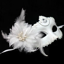 2016 New Arrival Flower Feather Venetian Masquerade Ball Halloween Carnival Party Eye Mask Wholesale(China)