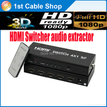 4X1 HDMI Switcher HDMI audio extractor&HDMI audio splitter function supports spdif&coaxial audio out