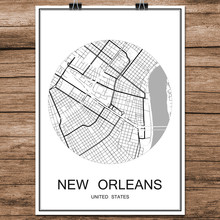 NEW ORLEANS USA Abstract World City Street Map Print Poster Coated Paper Cafe Bar Living Room Home Decor Wall Sticker 42x30cm
