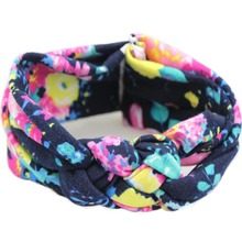1 PC Soft Kawaii Girls Kids Cotton Bow Flower Floral Hairband Headband Stretch Turban Knot Head Wrap Hair Band Accessories