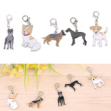 5pcs Charms Pet Dog Collar Pendant Tag Necklace Shepherd Dogs Keychain Dog Charms for Bags jewelry Women(China)