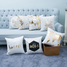 Hight Quality Bronzing Gold Pillow Pillowcase Cotton Linen Printed 45*45 CM(China)