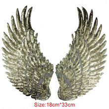 Gold Silver Wings Sequin Patches Sew-on Embroidered Patches For Clothing Applique Parches Para La Ropa Apparel Craft Accessories(China)
